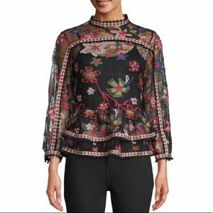 Anna Sui lace peplum Floral Victorian top NWT